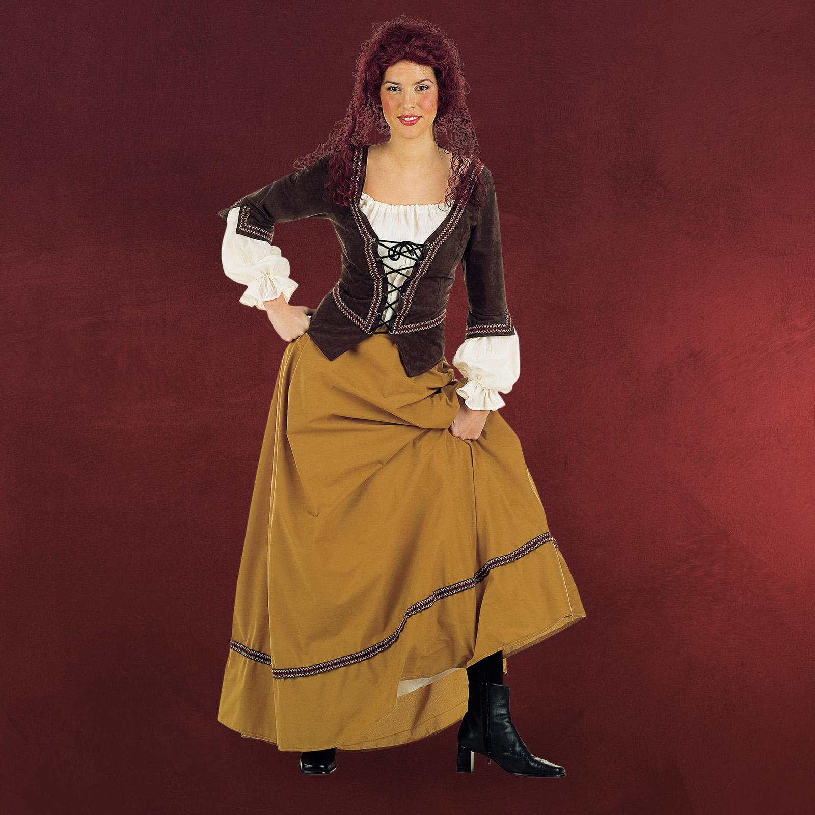 damen kost m marktfrau mittelalter magd gewand 2 tlg bluse m mieder rock lang ebay. Black Bedroom Furniture Sets. Home Design Ideas