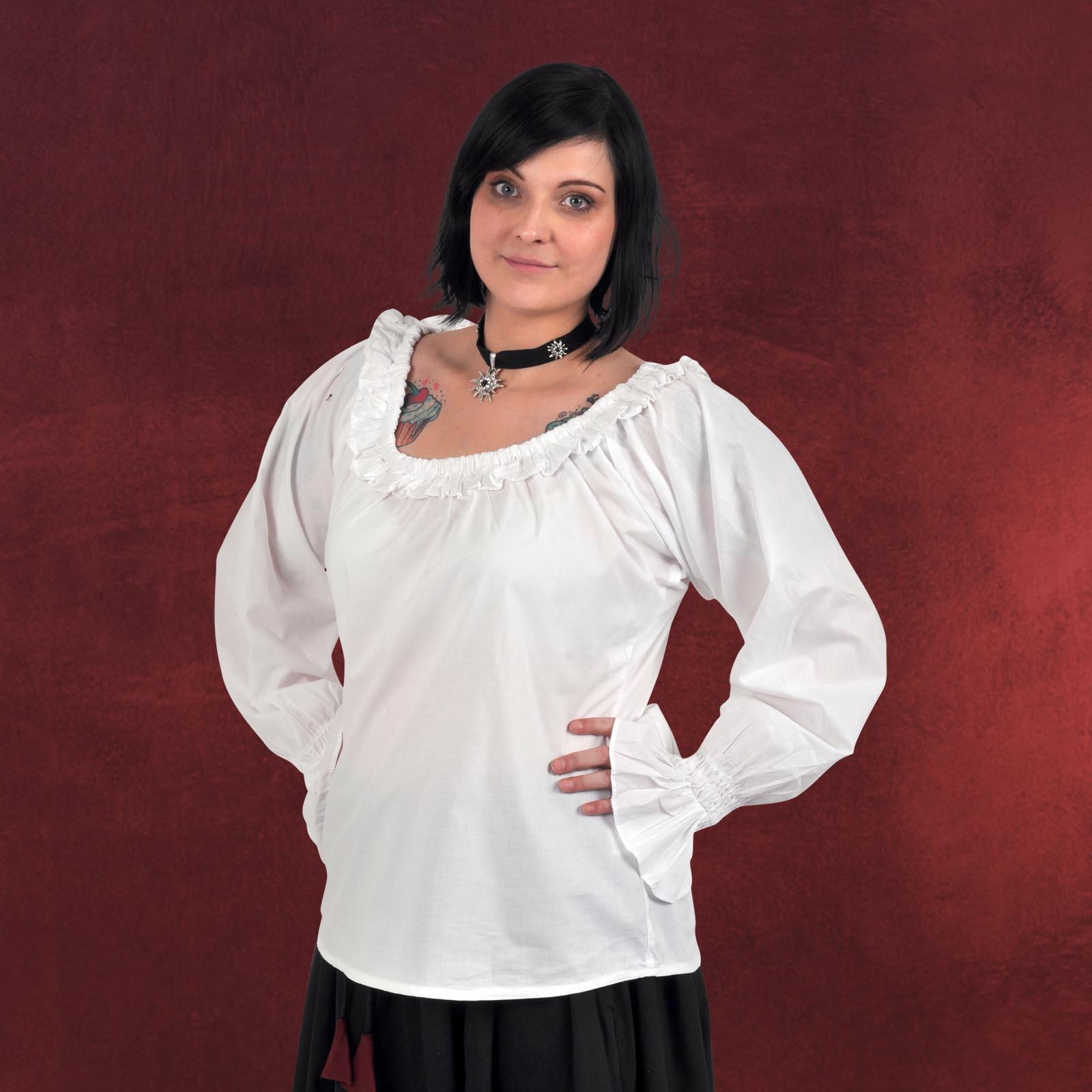 mittelalter bluse damen langarm wei r schen tailliert. Black Bedroom Furniture Sets. Home Design Ideas