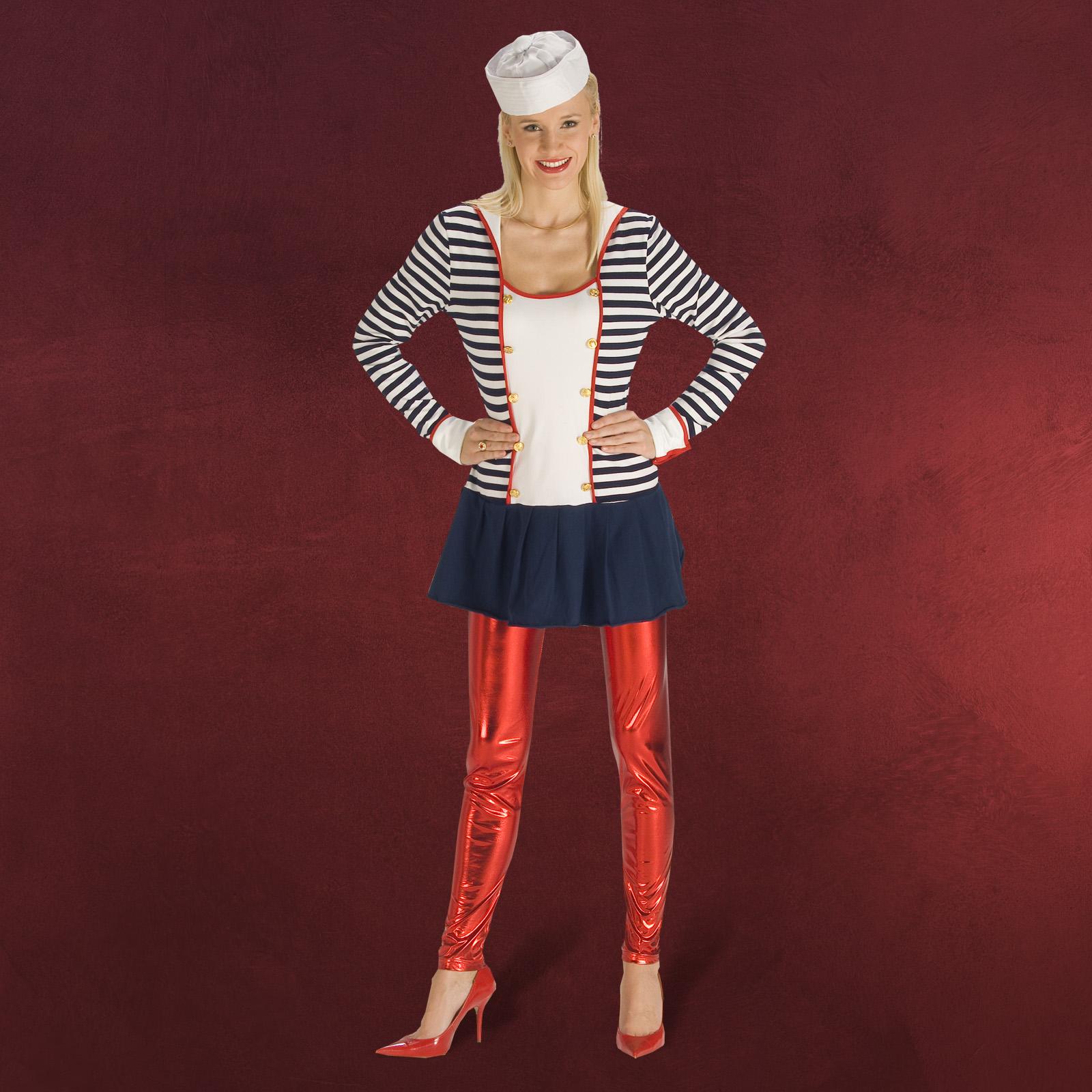 sexy marine sailor girl kleid matrosen fasching kost m damen blau wei gestreift ebay. Black Bedroom Furniture Sets. Home Design Ideas