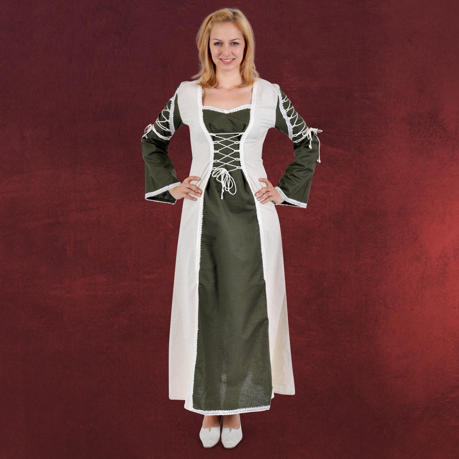 Mittelalter Kleid oliv-natur, Schnürung, ausgestellter ...