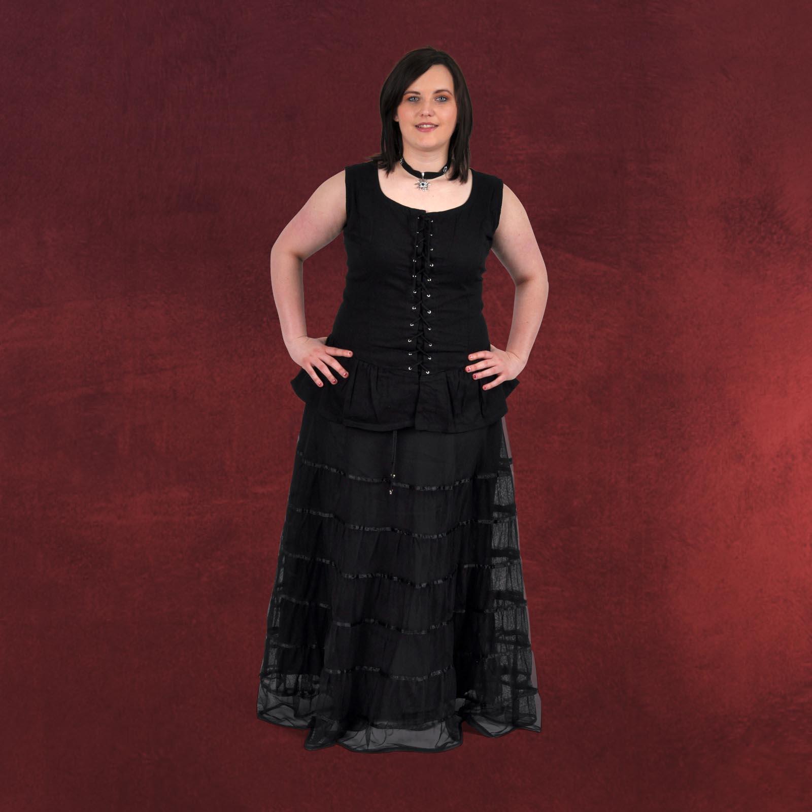 Chiffonrock schw m Satin Unterrock, schwarze Mode Gothic ...