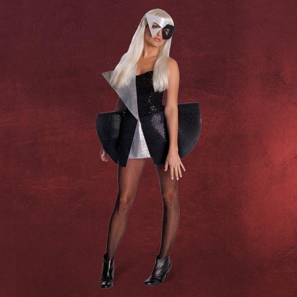 lady gaga sexy pailletten popqueen kost m kleid mit maske schwarz silber ebay. Black Bedroom Furniture Sets. Home Design Ideas