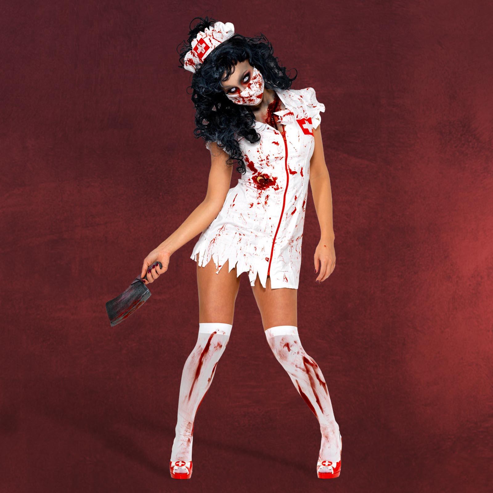 zombie halloween kost m damen sexy krankenschwester minikleid haube maske ebay. Black Bedroom Furniture Sets. Home Design Ideas